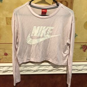 Nike red label pink long sleeve cropped top